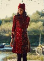 Çiçek Desenli Hakim Yaka Kırmızı Elbise