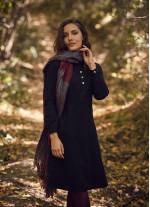 Hakim Yaka Detaylı Cepli Uzun Kollu Siyah Elbise