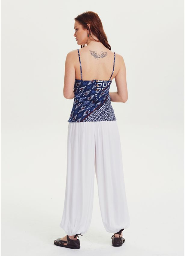 Bohem Tarz Elastik Bel Beyaz Şalvar Yoga Pantolon