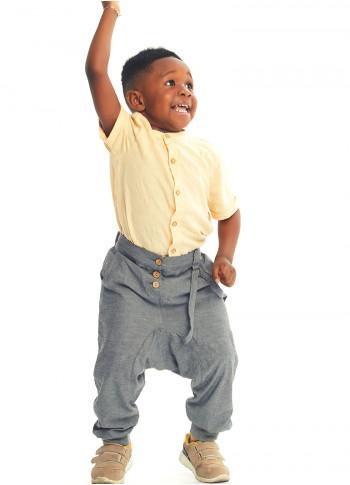 Çocuk Elastik Bilekli Bağcıklı Gri Erkek Şalvar Pantolon