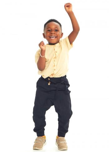 Çocuk Elastik Bilekli Bağcıklı Siyah Şalvar Erkek Pantolon