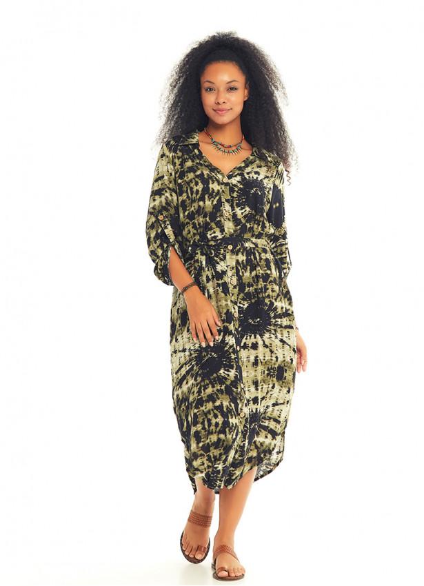 Salaş Düğmeli Batik Uzun Kollu Elbise