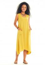 Bohem Tarz Kayık Yaka Kolsuz Cepli Sarı Elbise