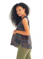 Siyah Desenli Ön Pilikaşe Detaylı V Yaka Hamile Bluz