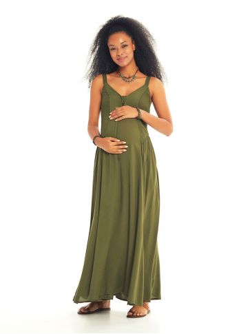 Kalın Askılı Gipeli Haki Hamile Elbise