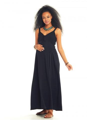 Kalın Askılı Gipeli Siyah Hamile Elbise