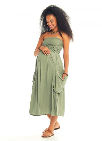 Kloş Straplez Dekolteli Cepli Yeşil Hamile Elbise