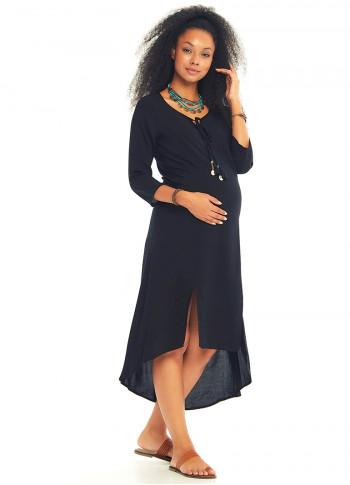 Bohem Truvakar Kol Yırtmaçlı Siyah Hamile Tunik Elbise