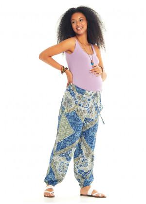 Mavi Desenli Bohem Stil Dökümlü  Hamile Şalvar Pantolon