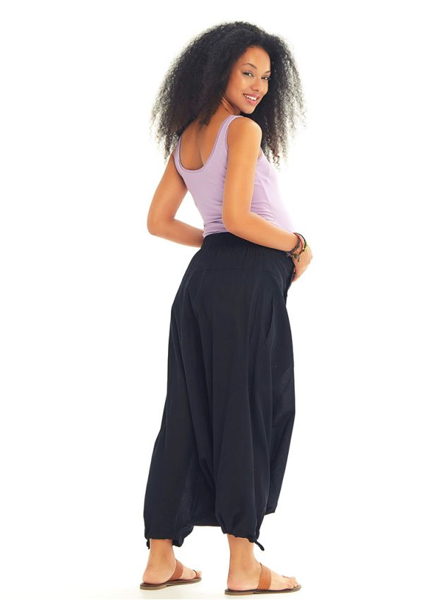 Etnik Desenli Düğmeli Siyah Hamile Pantolon Etek