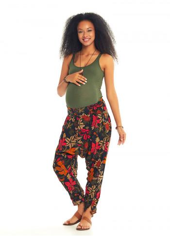 Çiçekli Gipe Bel Hamile Şalvar Pantolon