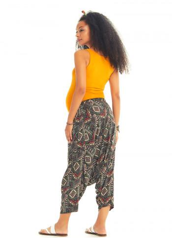 Haki Stella Desenli Kadın Kapri Şalvar Hamile Pantolon