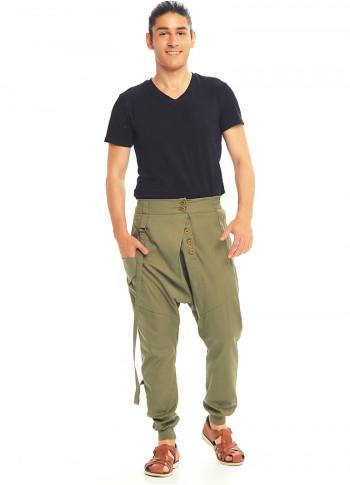 Metal Düğmeli Cepli Kruvaze Toprak Şalvar Pantolon