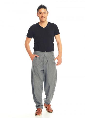 Gri Beli Lastikli Rahat Koton Pantolon