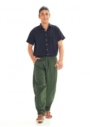 Yeşil Beli Lastikli Rahat Koton Pantolon