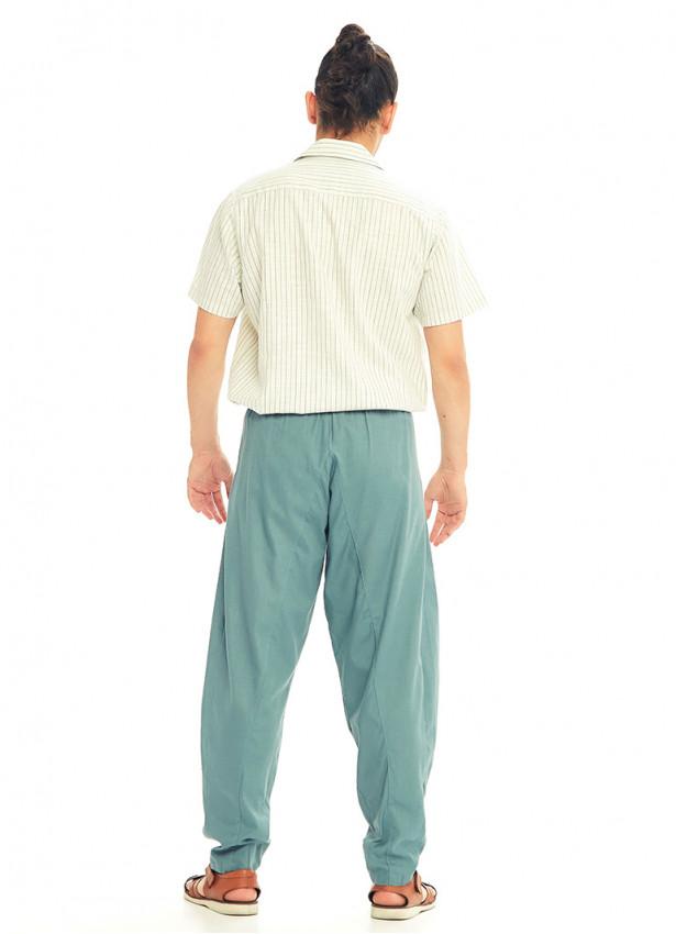 Mavi Beli Lastikli Rahat Koton Pantolon