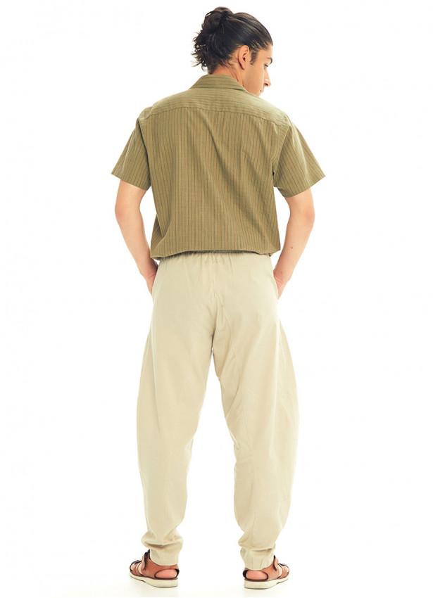 Krem Beli Lastikli Rahat Koton Pantolon