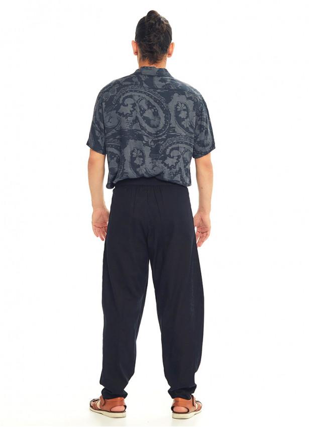 Siyah Beli Lastikli Rahat Koton Pantolon