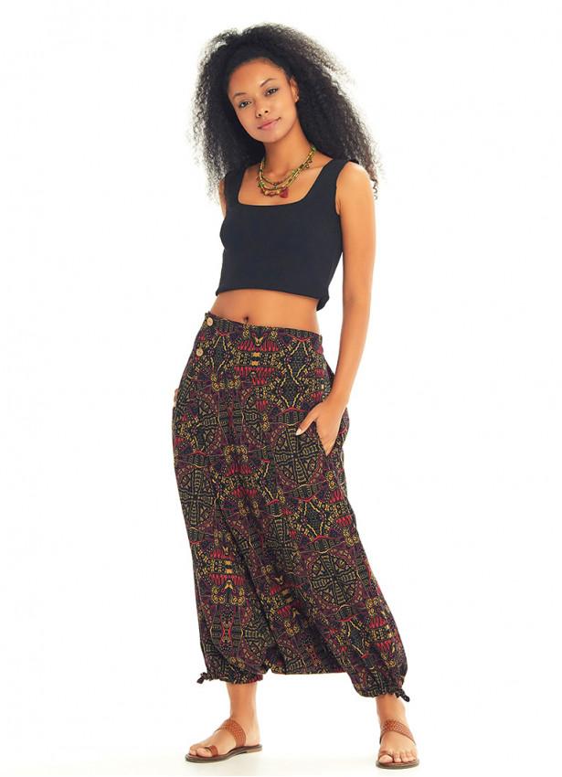 Etnik Desenli Düğmeli Otantik Yazlık Şalvar Pantolon