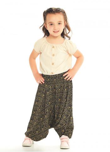 Çocuk Etnik Desenli Gipe Bel Detaylı Şalvar Pantolon