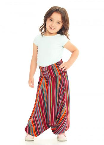 Çocuk Kırmızı Etnik Desenli Gipe Bel Detaylı Şalvar Pantolon