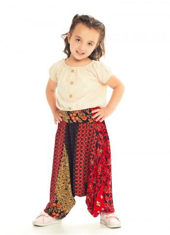 Çocuk Etnik Patch Desenli Gipe Bel Detaylı Şalvar Pantolon