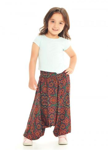 Çocuk Etnik Retro Desenli Gipe Bel Detaylı Şalvar Pantolon