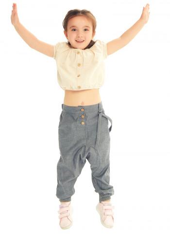 Çocuk Elastik Bilekli Bağcıklı Gri Şalvar Pantolon