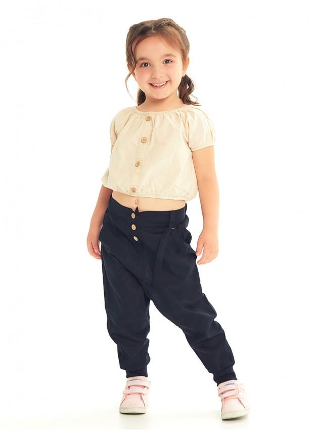 Çocuk Elastik Bilekli Bağcıklı Siyah Şalvar Pantolon