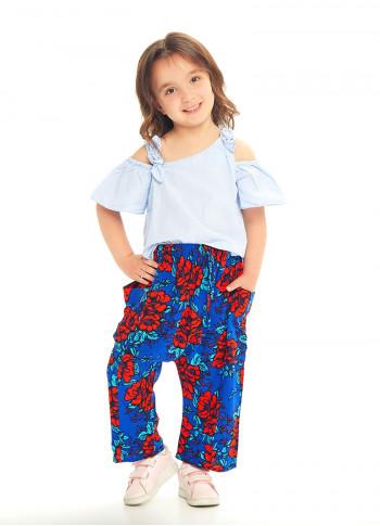 Çocuk Saks Çiçekli Kapri Şalvar Pantolon