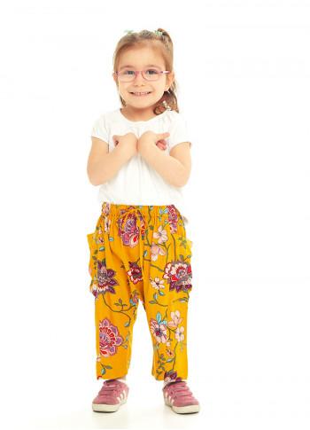 Çocuk Hardal Çiçekli Kapri Şalvar Pantolon