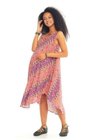 Çiçek Desenli Kayık Yaka Kolsuz Hamile Günlük Elbise