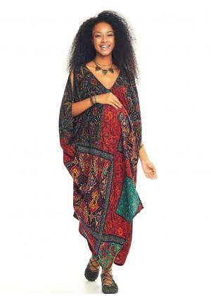 Siyah Desenli Sırt Dekolteli Bohem Hamile Yazlık Elbise