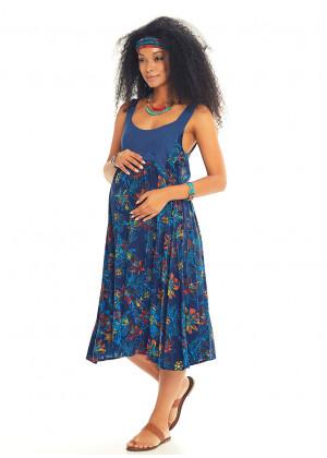 Mavi Çiçekli Sırt Dekolteli Hamile Elbise
