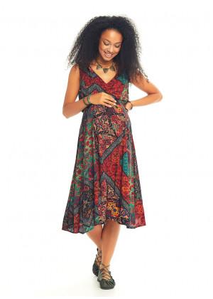 Etnik Desenli Yazlık V Yakalı Hamile Elbise