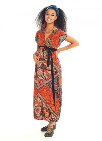 Yırtmaç Detaylı Kemerli Turuncu Desenli Yazlık Hamile Elbise