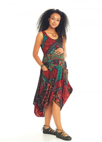 Siyah Desenli Kayık Yaka Asimetrik Kesim Hamile Elbise