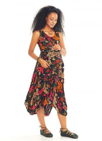 Çiçek Desenli Kayık Yaka Bağcıklı Siyah Hamile Elbise