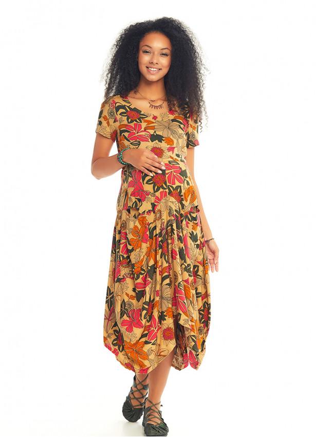 Otantik Havuz Yaka Yarım Kollu Bej Çiçekli Uzun Hamile Elbise