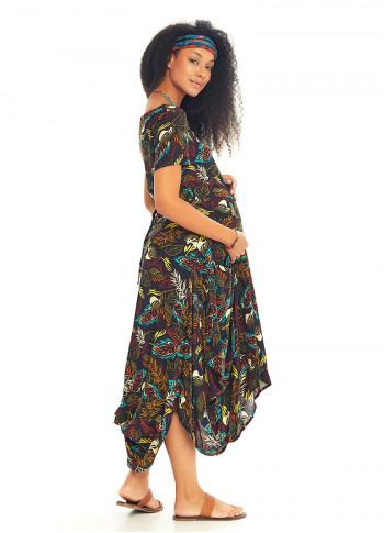 Amazon Desenli Cepli Yarım Kollu Uzun Siyah  Hamile Elbise