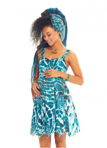 Etnik Desenli Askılı Sırt Dekolteli Kloş Hamile Günlük Elbise