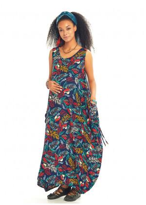 Kayık Yaka Düğmeli Lacivert Günlük Hamile Elbise