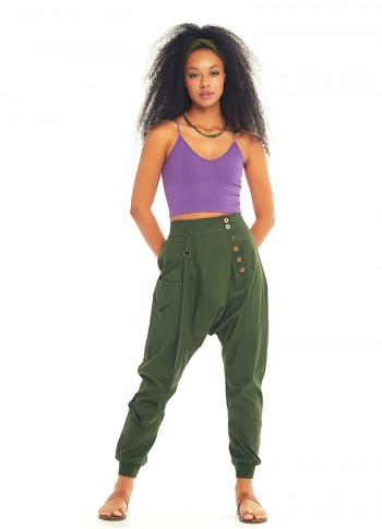 Kruvaze Elastik Paça Düğmeli Yeşil Şalvar Pantolon