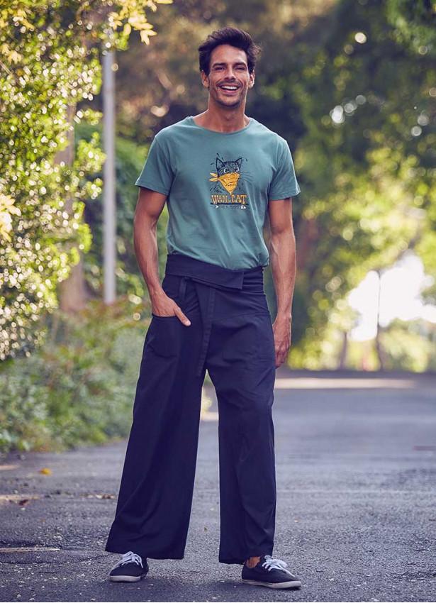 Beli Bağlamalı Bol Paça Siyah Balıkçı Pantolon