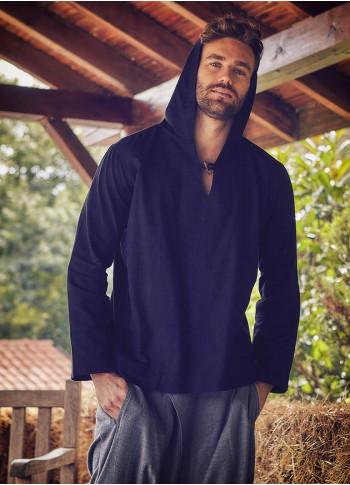 Çoban Düğme Detaylı Kapşonlu Siyah Erkek Gömlek