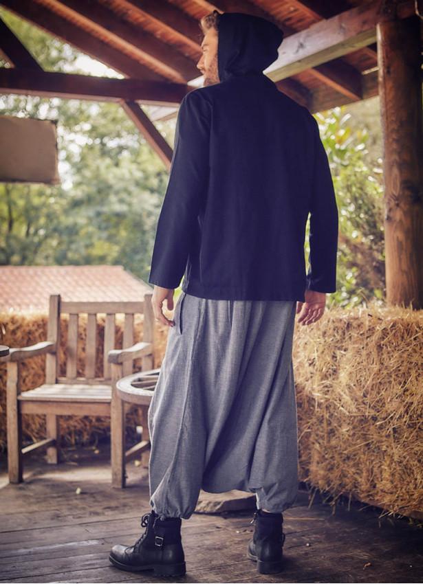 Anvelop Beli Lastikli Gri Erkek Şalvar Pantolon