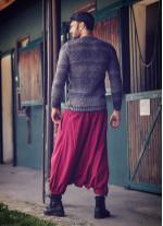 Bohem Tarz Erkek Kırmızı Kapri Şalvar Pantolon