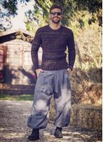 Beli Lastikli Cepli Erkek Gri Şalvar Pantolon