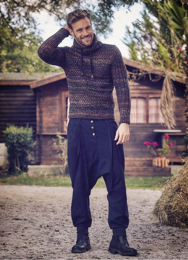 Bağcık Detaylı Düğmeli Erkek Siyah Şalvar Pantolon
