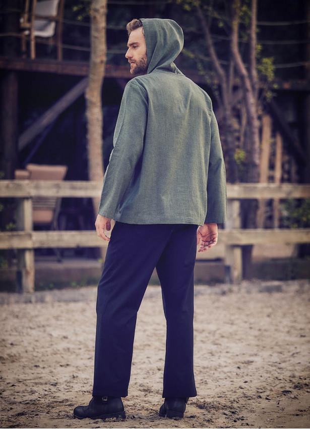 Çoban Düğme Detaylı, Kapşonlu Erkek Yeşil Gömlek